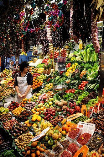 Stall in La Boqueria market in Barcelona, December 2009